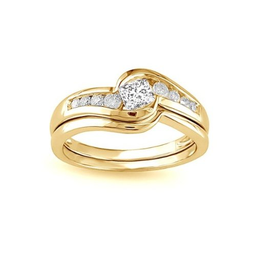 0.58 Carat Princess cut Diamond Wedding Ring Set On 14k Yellow Gold
