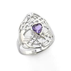 Celtic Knot and Genuine Amethyst Irish Claddagh Sterling Silver Ring Size 4(Sizes 4,5,6,7,8,9,10,11,12,13,14,15)