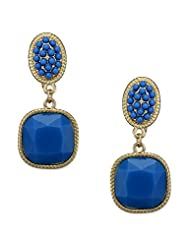 Fayon Daily Casual Work Blue Bead Gemstone Clip-on Drop Earrings
