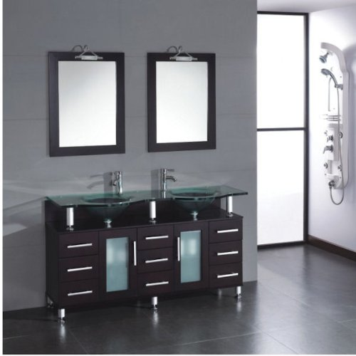 Discount 59 Inch Double Sink Wood Glass Bathroom Vanity Set 08125 Oakwood Review Best