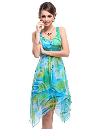 HE03187BL06, Multiple(blue), 4US, Ever Pretty Floral Beach Summer Dresses 03187