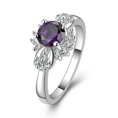 New Arrival Silver Plated Fashion Ring With Purple Diamond Nice Ring For Women And Teen Girls