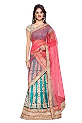 Georgette and Net Party Wear Lehenga Choli in Blue and Pink Colour