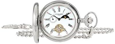 Charles-Hubert Pocket Watch 3553-W Paris Stainless Steel Half Hunter
