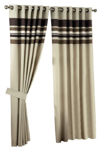 Curtina Harvard Chocolate Eyelet Lined Curtain 90x90