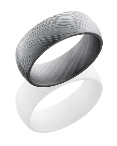 Stainless Steel, Polished Damascus Steel Wedding Band (sz 8)