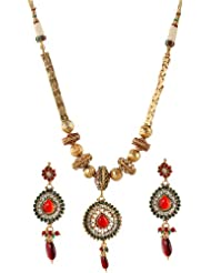 Exotic India Tri-Color Polki Beaded Necklace With Earrings Set - Copper Alloy With Cut Glass