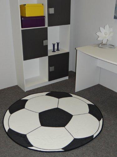 Kinderteppich Fußball 133 cm rund