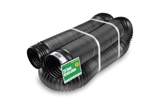 Flex-Drain 51110 Flexible/Expandable Landscaping Drain Pipe, Solid, 4-Inch by 25-Feet