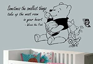 "Winnie The Pooh-Sometimes The Smallest Things-Wall Decal For Nursery-Home Decor-Wall Sticker Decal-24""-Wall Art-Wall Decor-Wall Sayings-Famous Quotes by Vinyl Access"