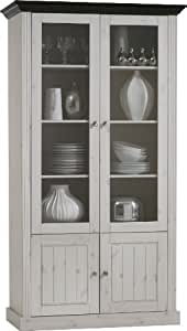 Steens Monaco 2+2 Tall Glazed Pine Bookcase, Whitewash/Dark Stain Finish
