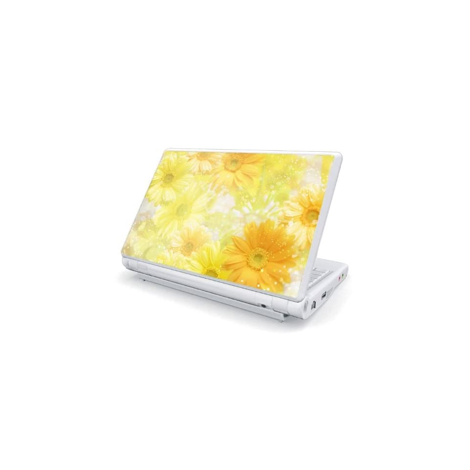 Yellow Flowers Design Skin Cover Decal Sticker for Dell Mini 10 / Mini 10v Netbook Laptop Notebook