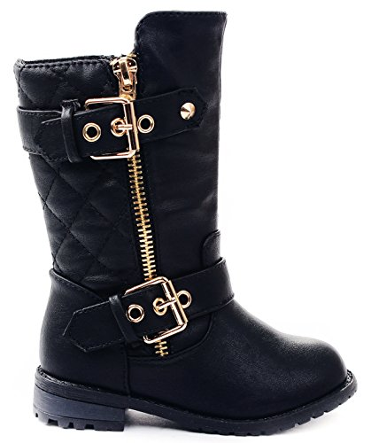 Baby Girls M21 Black Dual Buckle/Zip Quilted Back Mid Calf Motorcycle Toddler/Infant Winter Boots-7
