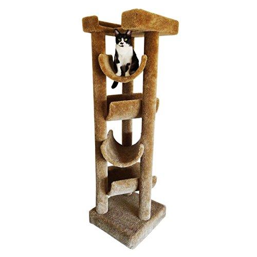 New Cat Condos Premier Solid Wood 6-foot Skyscraper Cat Tree, Brown