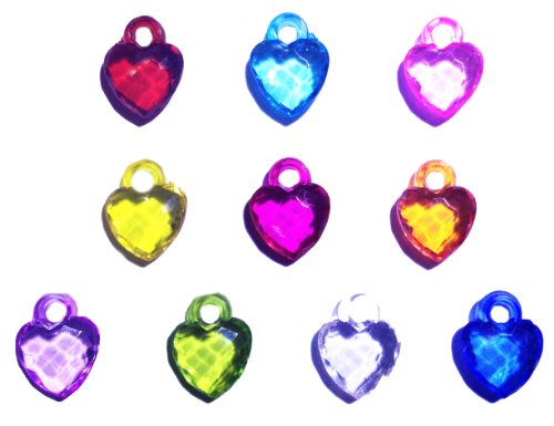 Pack of 10 Dazzling Heart Loom Charms for Silicone