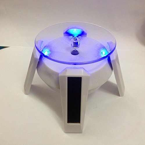 5 Pack Of Solar Powered Jewelry Phone Watch Rotating Display Stand Turn Table With Led Light