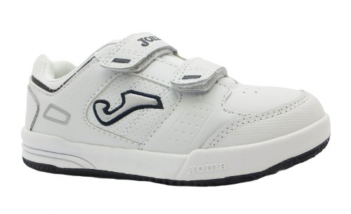 Boy's W. School 202 Joma White/black Flat Velcro Gym & Tennis Shoes