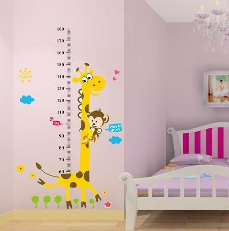 cidbest frecher affe und gelb giraffe wandaufkleber f r kinderzimmer schlafzimmer comic tiere. Black Bedroom Furniture Sets. Home Design Ideas