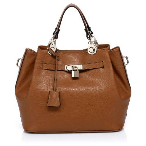 Vicenzo Leather Phebean Italian Leather Satchel (Brown)