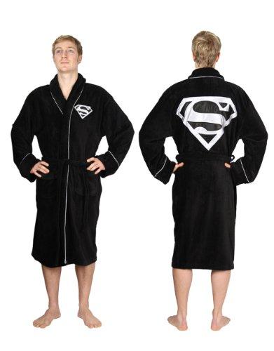 Superman Bathrobe, Superman Dressing Gown Bathrobe, Silver Logo Cotton Black