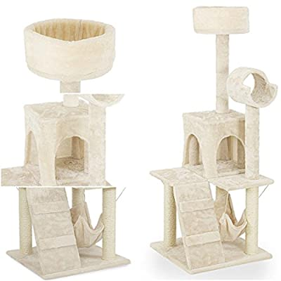 "Likely Modern 52"" Cat Tree Furniture Scratching Posts Kitten House Condo Perches Color Beige with Hammock"