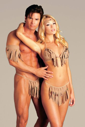 His and Her American Indian Costume Bra Panties 5 Piece SeXy Couple Set