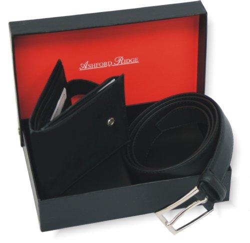 Ashford Ridge cintura in pelle e set regalo portafoglio per gli uomini (dimensioni 112cm - 122cm vita)