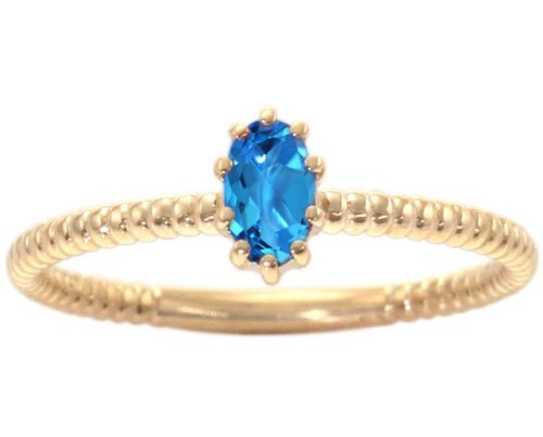 14K Yellow Gold Petite Oval Gemstone Solitaire Stackable Ring-Swiss Blue Topaz, size6.5