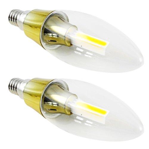 2X MENGS® E14 3W Golden Kerze wie LED Birne COB LED Lampe & Leuchtmittel Mit Glasmantel Material (210LM, AC 220-240V, Kaltweiß 6500K, 360º Abstrahlwinkel, Ø35 x 119mm) Energiespar Licht