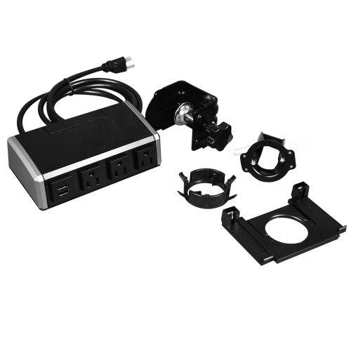 Wiremold Wsr320-S Desktop Power Center With 3 Power Outlets And 2 Usb Outlets For Charging, Black/Silver