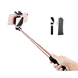 NEW 2016 Selfie Sticks , Telescopic / Extendable Selfie stick Self-portrait for Mobile phone from the shaft autodyne stents, High-end general scalable autodyne artifact (Rose Gold)