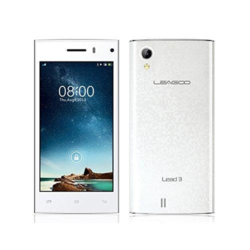 "Leagoo Lead 3 Mtk6582 1.3Ghz Quad Core 4.5"" Qhd Ips 3G Android 4.4 Wcdma Mobile 4Gb Rom 5Mp Gps Smartphone (White)"
