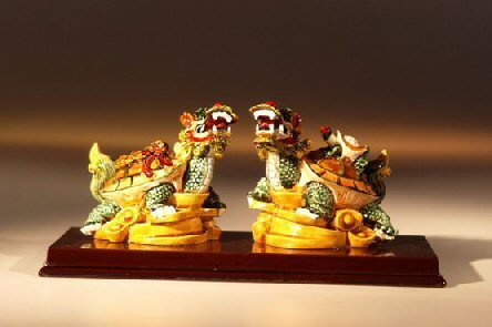 Bonsai Boy's Two Dragon Turtle Miniature Figurines 5 0x2 5