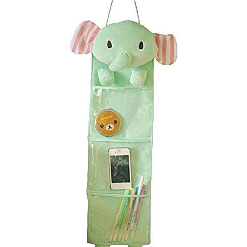 Leegoal Wall Hanging Storage Bag 3 Pockets 3 Designs (elephant)
