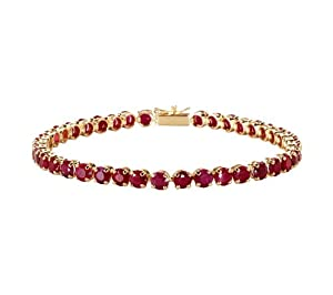 14k Yellow Gold Round Ruby Tennis Bracelet, 8