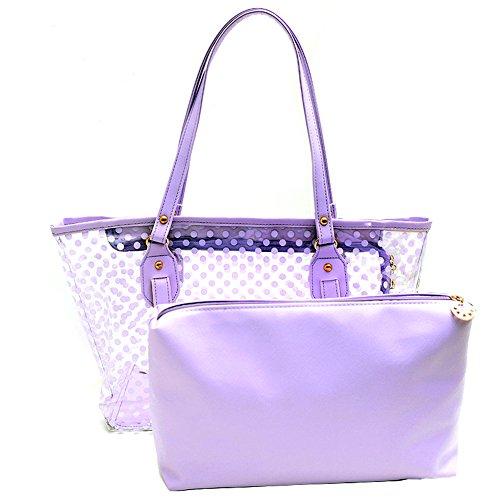 Semi-Clear Beach Wallet Swimming Tote Shoulder Bag Work Bag Lunch Bag (Purple)