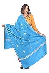 Weavers Villa - Women's Blue Jacquard Woolen Shawls , Stoles