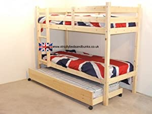 Childrens Bunkbeds 3ft Twin Bunk Bed With Guest Bed - 3 Budget Mattress Included