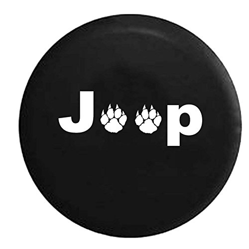 Jeep Wild Animal Paw Prints Spare Tire Cover OEM Vinyl Black 32-33 in (Xj Spare Tire compare prices)