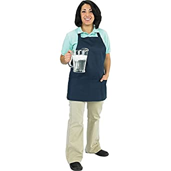 "Chef Revival 602BAFH Poly Cotton ""Front of the House"" Professional Bib Apron with 3 Compartment Front Pocket, 25 by 28-Inch, Navy Blue"
