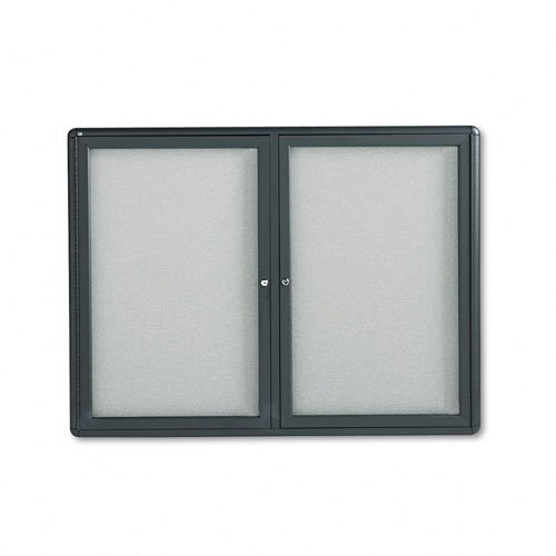 Quartet Enclosed Fabric Bulletin Board, 4 x 3 Feet, 2 Doors, Black Frame with Gray Fabric (2364L)