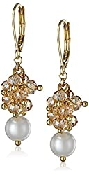 Anne Klein Confettied Pearls Gold-Tone Topaz and Blanc Shaky Drop Earrings