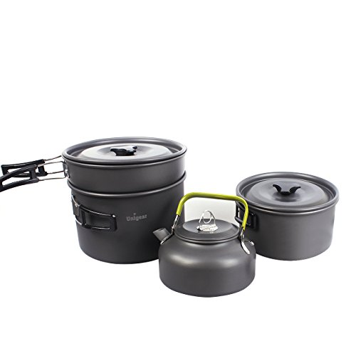 Camping Cookware Outdoor Cooking Equipment Mess Kit Backpacking Gear Hiking Fishing Cooking Pan Pot Bowls Set, Compact Durable Folding Lightweight (New 17 in 1) (Rv Kitchen Kit compare prices)