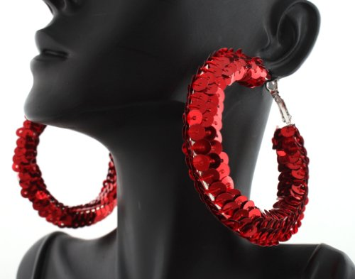 Ladies 2.5 Inch Red Sequin Hoop Earrings Poparazzi