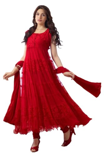 mrig Women Brasso and Net Beautiful long anarkali suit (R0001-Red)