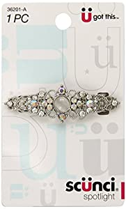 Scunci Effortless Beauty Metal Rhinestone Auto Clasp Barrette, 6.5cm, Colors May Vary