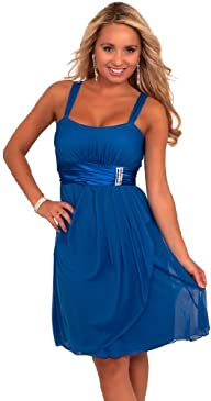 Hot from Hollywood Women's Sleeveless Rhinestone Empire Waist Sheer Party Dress