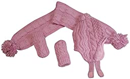 N\'Ice Caps Girls Geo Design Cable Knit 3PC Set With Fleece Lining (6-18 Months, Infant - Pink)