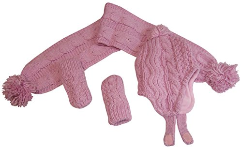 N'Ice Caps Girls Geo Design Cable Knit 3PC Set With Fleece Lining (6-18 Months, Infant - Pink)