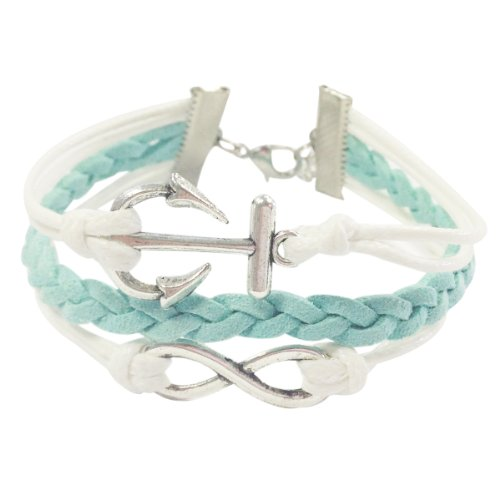 Wrapables Vintage Leather and Rope Infinity Bracelet - Mint and White Anchor Infinity - 1